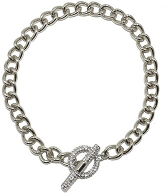 Savvy Cie Rhodium Plated Cuban Link CZ Toggle Necklace