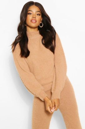 boohoo Premium Fluffy Knit Balloon Sleeve Jumper