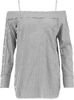 Robert Rodriguez Cold-Shoulder Striped Cotton Top