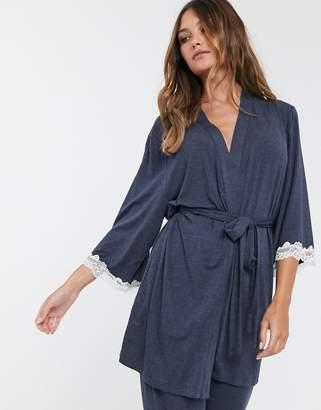 Dorina Cordelia modal and lace robe in gray