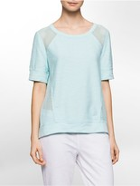Calvin Klein Performance Mixed Media Short-Sleeve Sweatshirt