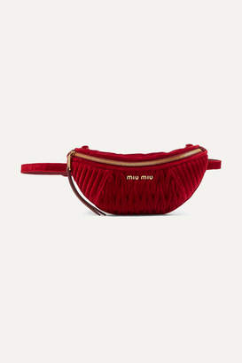 Miu Miu Convertible Leather-trimmed Matelassé Velvet Belt Bag - Red