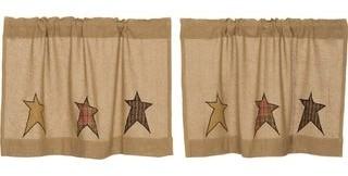 VHC Brands Tan Primitive Kitchen Curtains VHC Stratton Burlap Star Tier Pair Rod Pocket Cotton Star Appliqued Cotton Burlap