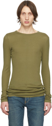 Saint Laurent Khaki Ribbed Jersey T-Shirt