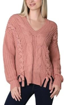Ultra Flirt Juniors' Lace Up Sweater