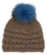 Inverni Fox Fur Pom-Pom, Wool & Cashmere Beanie