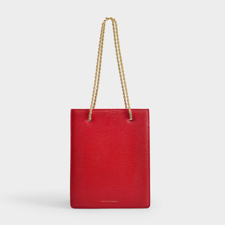 Loeffler Randall Antoinette Shopper Tote In Red Lizard Embossed Leather