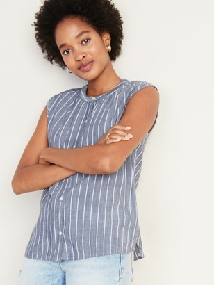 Old Navy Striped Sleeveless Button-Front Cocoon Top for Women