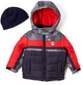 London Fog Navy Color Block Puffer Coat & Beanie - Infant Toddler & Boys