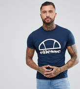 Ellesse Longline Muscle Fit T-shirt With Logo In Navy
