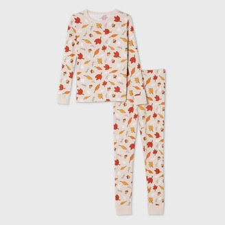 Ev Holiday Kids' Leaf Print Matching Family Pajama Set - Oatmeal