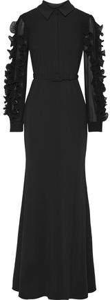 Badgley Mischka Ruffled Plisse Organza-trimmed Chiffon-paneled Crepe Gown
