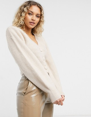 And other stories & wool shoulder pad cardigan in beige