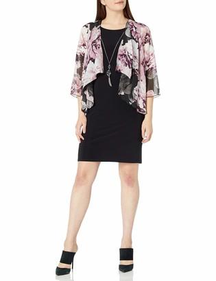 Tiana B T I A N A B. Women's Floral Chiffon Mock Jacket Dress with Necklace Trim