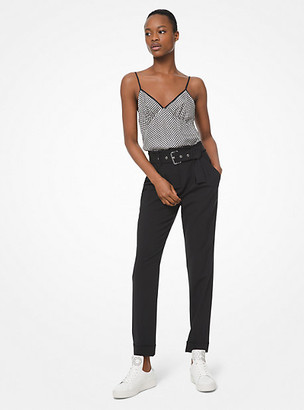 Michael Kors Stretch-Wool Belted Trousers