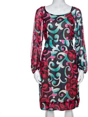Diane von Furstenberg Multicolor Printed Eribec Long Sleeve Dress S