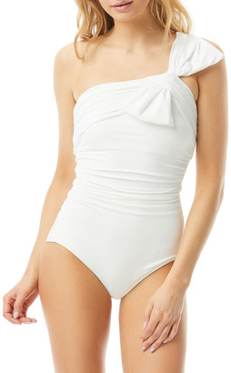 Carmen Marc Valvo Ruched One-Shoulder One-Piece Swimsuit