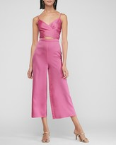 Express Textured Satin Cross Front Cut-Out Culotte Jumpsuit