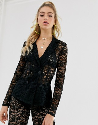 Club L London sheer lace blazer-Black