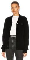 Comme des Garcons Wool Cardigan with Black Emblem