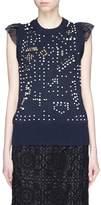 Sacai Embellished mesh panel cotton-cashmere knit top