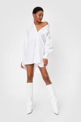 Nasty Gal Womens Give It Back to Hem Oversized Shirt Dress - White