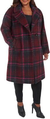 Rachel Roy Plaid Notch Lapel Coat
