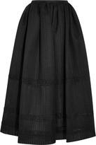 Emilia Wickstead Maribel Embroidered Cotton-blend Organza Midi Skirt - Black