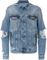 Balmain distressed denim jacket - men - Cotton/Polyester - M