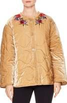 Sandro Women's Reva Quilted Velvet Jacket