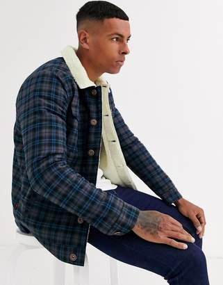 Le Breve borg collar check jacket-Navy