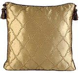 Veratex Belle Fleur Tasseled Diamond-Embroidered Faux-Silk Square Pillow