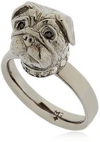 Silver & Crystal Pug Ring
