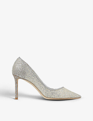 Jimmy Choo Romy 85 pointed-toe glitter-tulle courts
