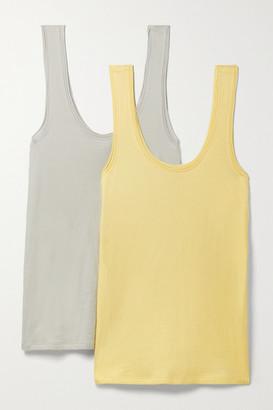 Skin Net Sustain Gal Set Of Two Organic Pima Cotton-jersey Tanks - Pastel yellow