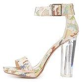 Charlotte Russe Brocade Two-Piece Lucite Heel Sandals