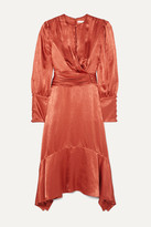 Jonathan Simkhai Ruched Hammered-satin Midi Dress - Orange