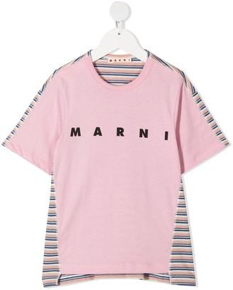 Marni striped logo-print T-Shirt