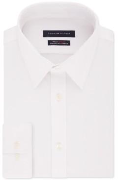 Tommy Hilfiger Men's Fitted THFlex Flex Collar Performance Stretch White Solid Dress Shirt