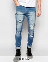 Liquor & Poker Skinny Extreme Rips Jeans in Light Stonewash