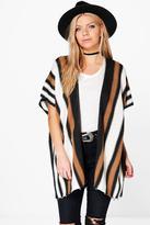 Boohoo Olivia Blanket Stripe Cape Cardigan