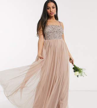 Maya Petite Bridesmaid sleeveless square neck maxi tulle dress with tonal delicate sequin in taupe blush-Brown