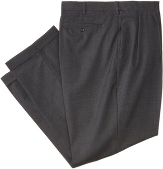 Louis Raphael Men's Big-Tall Luxe 100% Wool Extension Dress Pant