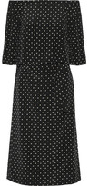 Tibi Off-the-shoulder Polka-dot Silk Crepe De Chine Dress - Black