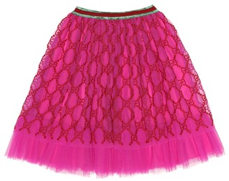 Gucci Kids Embroidered tulle skirt