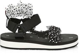 Midnight 00 Ruched Polka Dot Sport Sandals