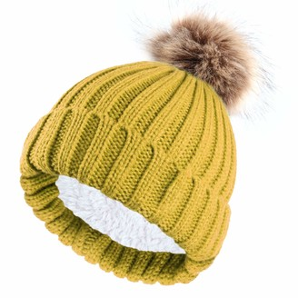 NEOLA Beanie Hat for Ladies Winter Bobble Hat Double Layer Fleece Line Knitted Hat with Detachable Faux Fur Pom Pom Hat (Yellow)
