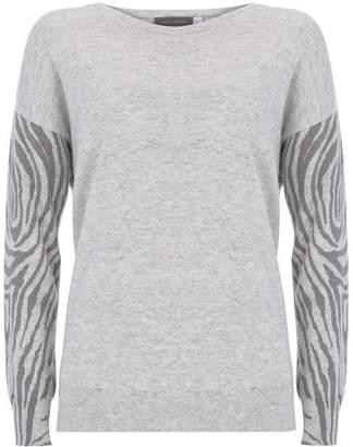 Mint Velvet Grey Animal Sleeve Knit Jumper