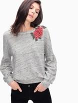 Splendid Verdi Rose Applique Sweatshirt