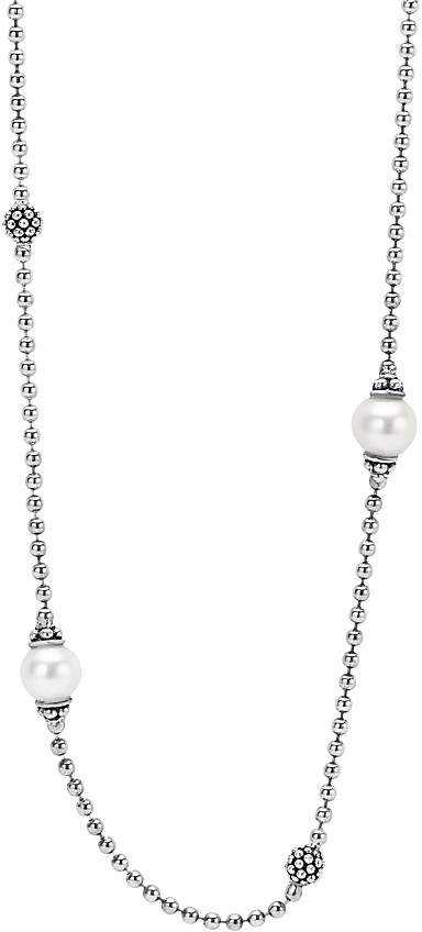 """Lagos Sterling Silver Luna Cultured Freshwater Pearl Station Necklace, 18"""""""